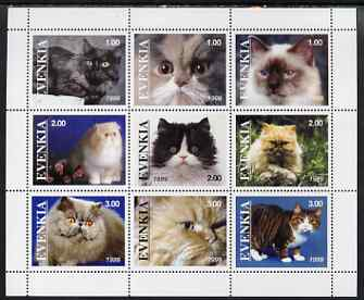 Evenkia Republic 1999 Domestic Cats perf sheetlet containing set of 9 values unmounted mint