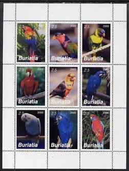 Buriatia Republic 2000 Parrots perf sheetlet containing set of 9 values unmounted mint