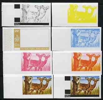 Rwanda 1972 Gazelles & Monkey 20c (from Akagera National Park set) the set of 8 imperf progressive proofs comprising the 5 individual colours plus 2, 3 and 4-colour compo...