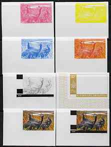 Rwanda 1972 Guineafowl 32f (from Akagera National Park set) the set of 8 imperf progressive proofs comprising the 5 individual colours plus 2, 3 and 4-colour composites, ...