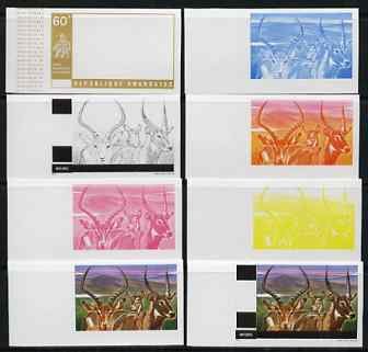 Rwanda 1972 Antelope 60f (from Akagera National Park set) the set of 8 imperf progressive proofs comprising the 5 individual colours plus 2, 3 and 4-colour composites, as...