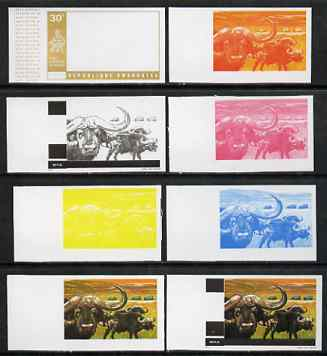Rwanda 1972 Buffalo 30c (from Akagera National Park set) the set of 8 imperf progressive proofs comprising the 5 individual colours plus 2, 3 and 4-colour composites, as ...