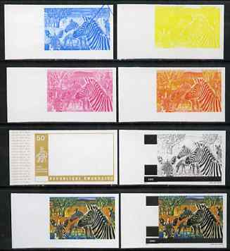 Rwanda 1972 Zebra 50c (from Akagera National Park set) the set of 8 imperf progressive proofs comprising the 5 individual colours plus 2, 3 and 4-colour composites, as SG...