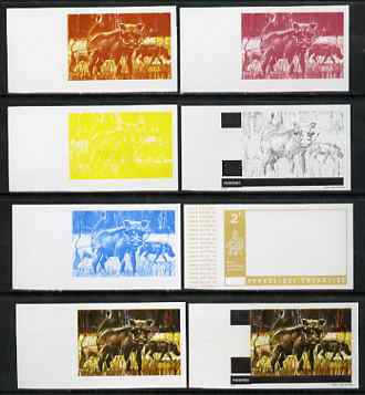 Rwanda 1972 Wharthog 2f (from Akagera National Park set) the set of 8 imperf progressive proofs comprising the 5 individual colours plus 2, 3 and 4-colour composites, as ...