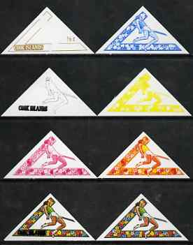 Cook Islands 1969 High Jump 1/2c (from Third South Pacific Games Triangular set) the set of 8 imperf progressive proofs comprising the 5 individual colours plus 2, 3 and ...