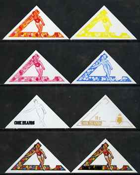 Cook Islands 1969 Javelin 10c (from Third South Pacific Games Triangular set) the set of 8 imperf progressive proofs comprising the 5 individual colours plus 2, 3 and 4-colour composites, as SG 301 unmounted mint