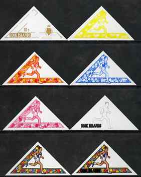 Cook Islands 1969 Running 10c (from Third South Pacific Games Triangular set) the set of 8 imperf progressive proofs comprising the 5 individual colours plus 2, 3 and 4-colour composites, as SG 302 unmounted mint