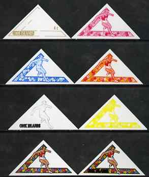 Cook Islands 1969 Hurdles 4c (from Third South Pacific Games Triangular set) the set of 8 imperf progressive proofs comprising the 5 individual colours plus 2, 3 and 4-colour composites, as SG 300 unmounted mint
