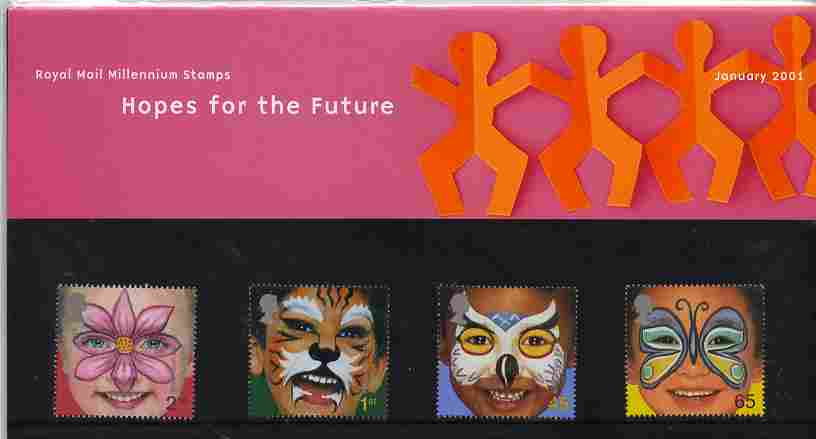 Great Britain 2001 Millennium Series - Face Paintings set of 4 in official presentation pack SG 2178-81