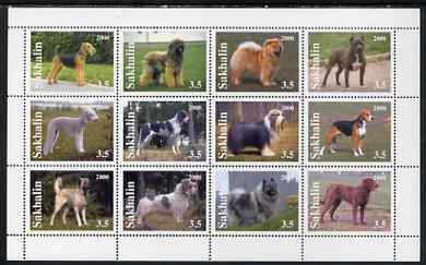 Sakhalin Isle 2000 Dogs perf sheetlet containing set of 12 values unmounted mint