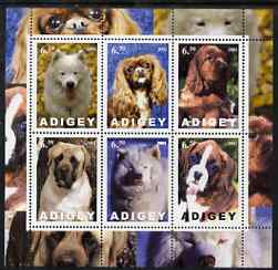 Adigey Republic 2001 Dogs perf sheetlet containing set of 6 values unmounted mint