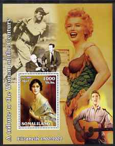 Somaliland 2002 A Tribute to the Woman of the Century #01 - The Queen Mother perf m/sheet also showing Marilyn, Elvis, Walt Disney & Babe Ruth, unmounted mint