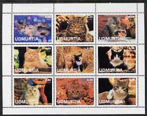 Udmurtia Republic 2001 Domestic Cats perf sheetlet containing set of 9 values unmounted mint