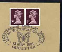 Postmark - Great Britain 1981 cover for Leicestershire Museums - British Butterfly Exhibition with illustrated cancel