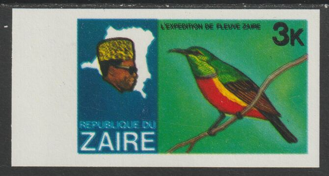 Zaire 1979 River Expedition 3k Sunbird imperf proof with black printing doubled (as SG 953) unmounted mint