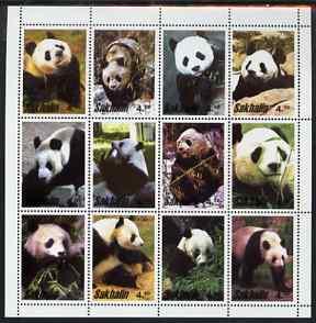 Sakhalin Isle 2001 pandas perf sheetlet containing set of 12 values unmounted mint