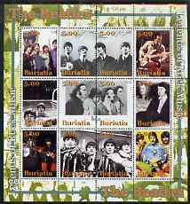 Buriatia Republic 2004 The Beatles #1 perf sheetlet containing set of 12 values unmounted mint