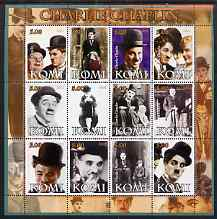 Komi Republic 2004 Charlie Chaplin perf sheetlet containing set of 12 values unmounted mint
