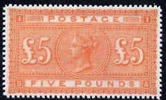 Great Britain 1867 QV �5 orange,  'Maryland' perf forgery 'unused', as SG 137 - the word Forgery is either handstamped or printed on the back and comes on a presentation card with descriptive notes