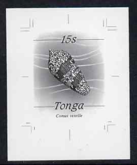 Tonga 1984-85 Textile or Cloth of Gold Cone Shell 15s (from self adhesive Marine Life def set) B&W photographic proof, scarce thus, as SG 873