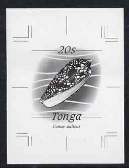 Tonga 1984-85 Princely Cone Shell 20s (from self adhesive Marine Life def set) B&W photographic proof, scarce thus, as SG 875 (Note the Princely Cone was issued as 29s)