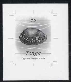 Tonga 1984-85 Green Map Cowrie Shell 5s (from self adhesive Marine Life def set) B&W photographic proof, scarce thus, as SG 867