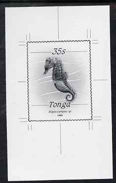 Tonga 1988-92 Seahorse 35s (from redrawn Marine Life def set) B&W photographic proof, scarce thus, as SG 1009