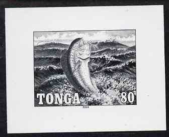 Tonga 1994 Dolphin Fish 80s (from Game Fishing set) B&W photographic proof, scarce thus, as SG 1268
