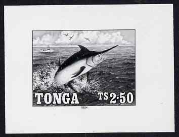 Tonga 1994 Blue Marlin 2p50 (from Game Fishing set) B&W photographic proof, scarce thus, as SG 1270