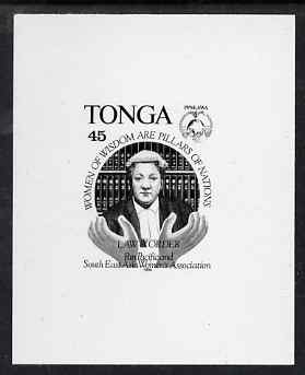 Tonga 1994 Woman Barrister 45s (from Women's Association set) B&W photographic proof, scarce thus, as SG 1276