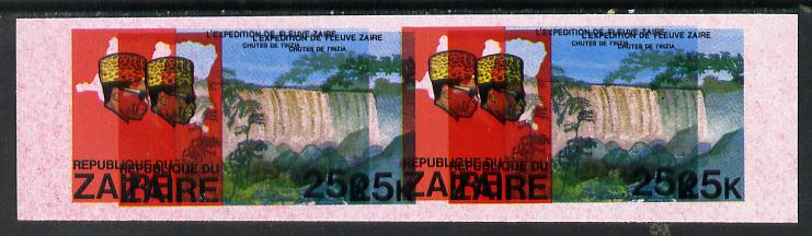 Zaire 1979 River Expedition 25k Inzia Falls imperf proof pair with entire design doubled (extra impression 5mm away) plus fine overall wash of red unmounted mint (as SG 9...