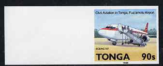 Tonga 1989 Boeing 737 90s from Aviation in Tonga set imperf marginal plate proof, as SG 1057