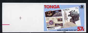 Tonga 1989 World Stamp Expo '89 57s imperf marginal plate proof unmounted mint, as SG 1064