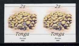Tonga 1990-92 Porites Coral 2s (from reduced-size Marine Life set) imperf proof pair, rare thus, as SG1087 (1992 imprint date)