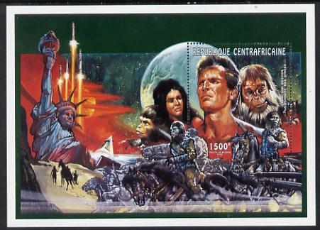 Central African Republic 1995 Charlton Heston & Planet of the Apes perf m/sheet unmounted mint. Note this item is privately produced and is offered purely on its thematic appeal