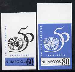 Tonga - Niuafo'ou 1995 50th Anniversary of United Nations 60s & 80s imperf plate proofs, scarce thus, as SG 238 & 241