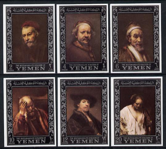 Yemen - Royalist 1967 Rembrandt imperf set of 6 (borders in silver) unmounted mint as SG R205-10, Mi 284-89B, stamps on arts, stamps on personalities, stamps on rembrandt, stamps on renaissance