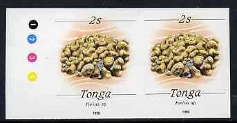 Tonga 1988-92 Porites Coral 2s (from redrawn Marine Life def set) imperf proof pair, rare thus, as SG 1000 (1990 imprint date)