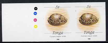 Tonga 1988-92 Green Map Cowrie Shell 5s (from redrawn Marine Life def set) imperf proof pair, rare thus, as SG 1002 (1990 imprint date)