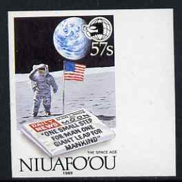 Tonga - Niuafo'ou 1989 EXPO '89 Stamp Exhibition (Man on Moon & Newspaper), imperf marginal proof unmounted mint as SG 131