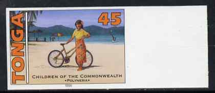 Tonga 1994 Polynesian Girl with Bicycle 45s (from 25th Anniversary set) imperf proof unmounted mint, as SG 1291
