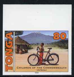 Tonga 1994 African Boy with Bicycle 80s (from 25th Anniversary set) imperf proof unmounted mint, as SG 1293