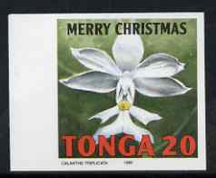 Tonga 1995 Orchid - Calanthe triplicata 20s Christmas imperf marginal plate proof as SG 1329