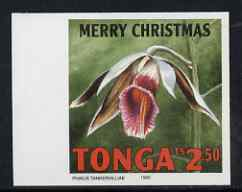 Tonga 1995 Orchid - Dendrobium toki 2p50 Christmas (insc Merry Christmas) imperf marginal plate proof as SG 1336
