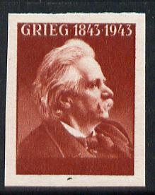 Norway 1943 Grieg imperf proof in red, value & Country omitted, slight wrinkle otherwise fine unmounted mint