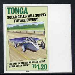 Tonga 1995 Solar Cell Vehicle 1p20 (from Alternative Sources of Electricity set) imperf marginal plate proof as SG 1071