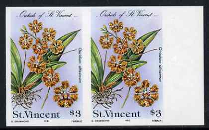 St Vincent 1985 Orchids $3 imperf pair unmounted mint, as SG 853