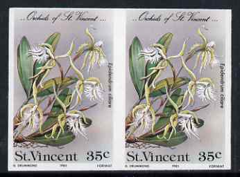 St Vincent 1985 Orchids 35c imperf pair unmounted mint, as SG 850
