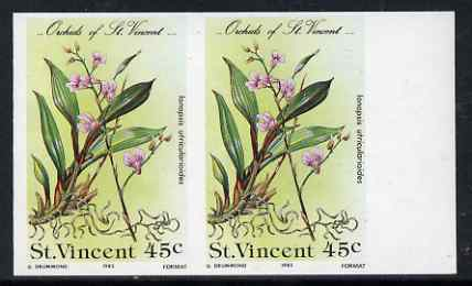 St Vincent 1985 Orchids 45c imperf pair unmounted mint, as SG 851
