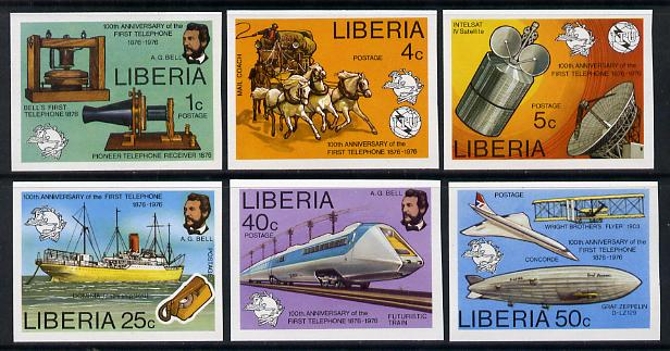 Liberia 1976 Telephone Centenary imperf set of 6 vals unmounted mint, stamps on communications, stamps on science, stamps on concorde, stamps on telephones, stamps on transport, stamps on upu, stamps on airships, stamps on zeppelins, stamps on railways, stamps on ships, stamps on horses, stamps on coaches, stamps on cable, stamps on  upu , stamps on , stamps on scots, stamps on scotland